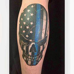 Stars And Stripes Totenkopf Tattoo