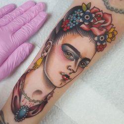 Buntes Frauen Gesicht Als Tattoo