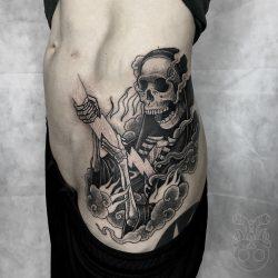 Skelett Mit Blitz Tattoo Schwarz Weiss