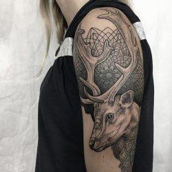 Hirsch Tattoo Mit Geometrischem Hintergrund
