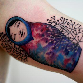Matroschka Tattoo In Aquarell Optik