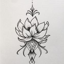 Lotusblumen Ornament, Gezeichnet Mit Tinte
