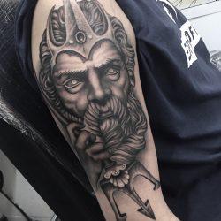Poseidon, Greek God Statue Tattoo