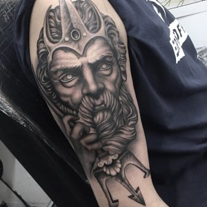 Poseidon, greek god statue tattoo