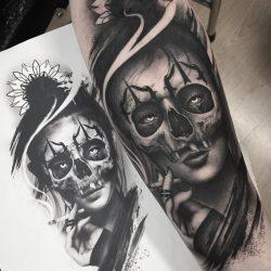 Woman Skull Tattoo Smoking