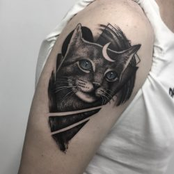 Cat Tattoo Realistic With Blue Eyes