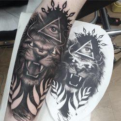 Lion Tattoo With Illuminati Eye