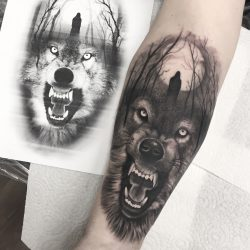 Black And Grey Wolf Tattoo With Forest