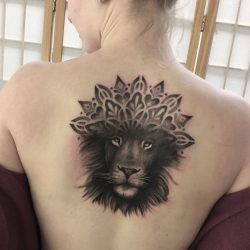 Realism Lion Tattoo With Mandala