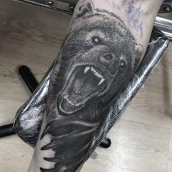 Realism Angry Bear Tattoo