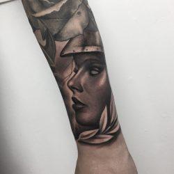 Kriegerin Tattoo Black And Grey