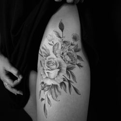 Super Delicate And Fineline Flower Tattoo With Black Ink