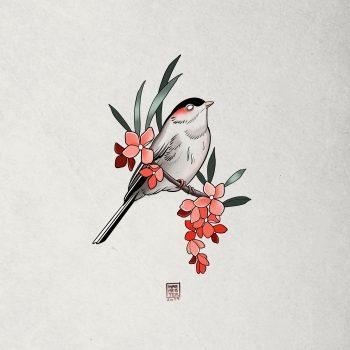 Bunte Tattoovorlage Eines Vogels Auf Einem Ast