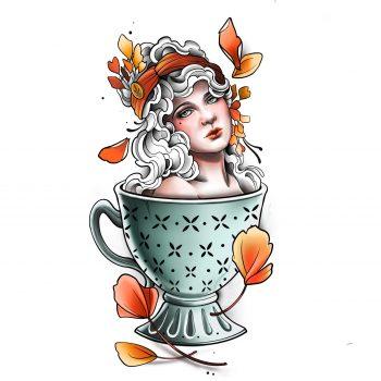 Frau In Einer Tasse Als Tattoo Motiv