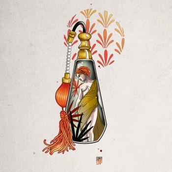 Jugendstil Tattoo Einer Frau In Einer Parfümflasche
