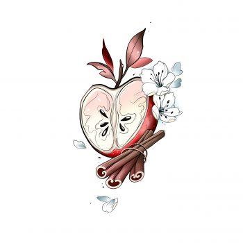 Apfel Mit Zimt Und Blüten Design Zum Tätowieren