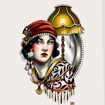 Frau Mit Jugendstil Ornamenten Als Tattoodesign