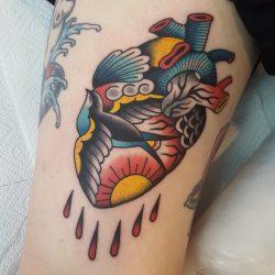 Anatomisches Herz Tattoo Mit Schwalbe
