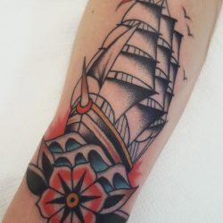 Segelschiff Tattoo Traditional